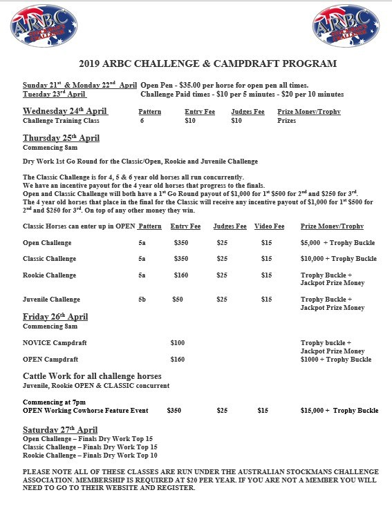 arbc challenge and campdraft program